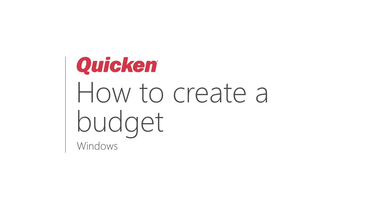 Quicken for Windows - How to create a budget