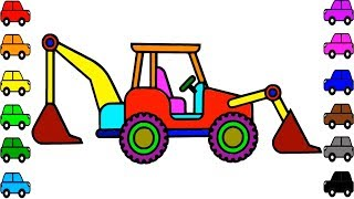 Excavator Video for Kids | Learn Colors for Kids with Construction Vehicles Coloring Pages