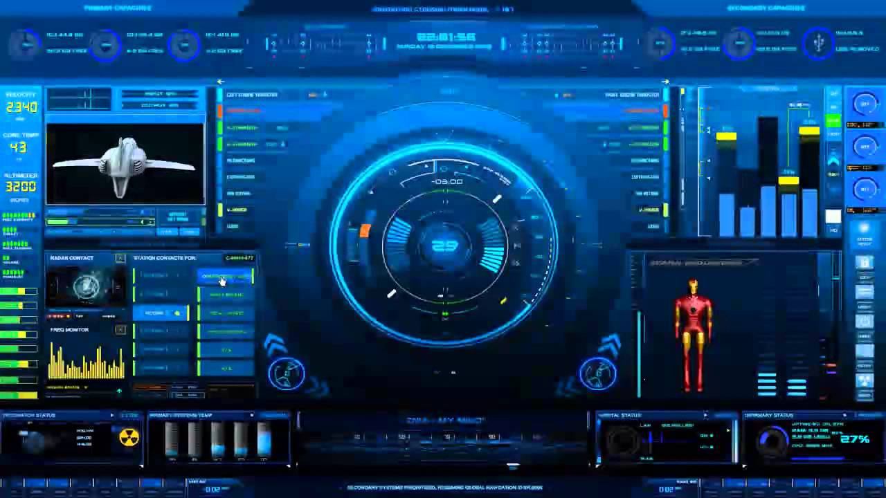 Jarvis Iphone Wallpaper Stark Industries Starship Mainframe Rainmeter Skin Mp4