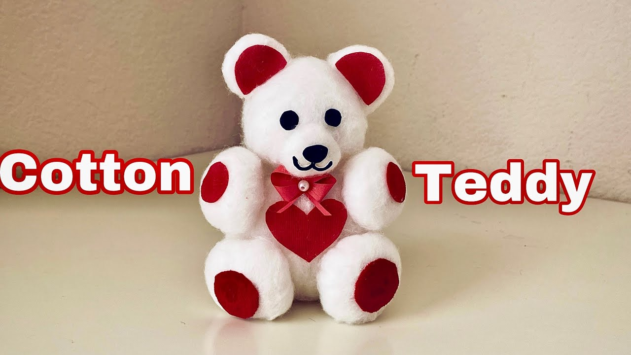 Download How to Make Teddy Bear with Cotton / Easy DIY Cotton Teddy Bear / Cotton Crafts