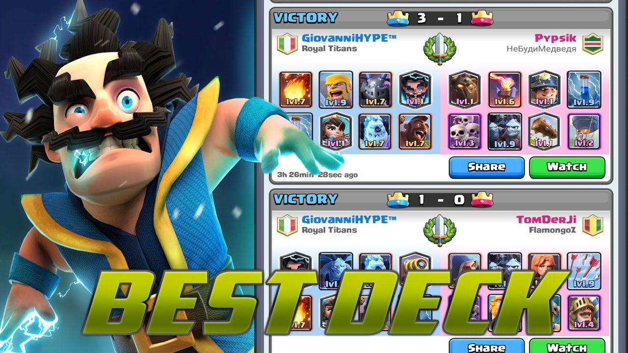 Best Deck With Electro Wizard Arena 7 8 9 10 Clash Royale Youtube