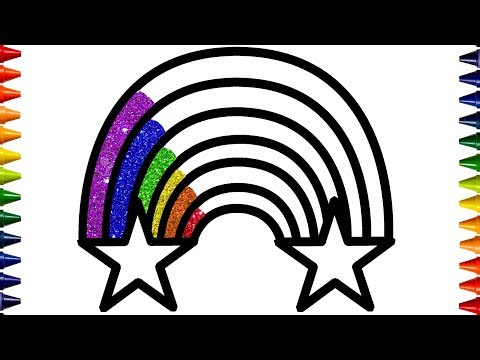 Glitter Rainbow Coloring Pages | Drawing and Glitter Learn Colors for Kids | Bum Bum Colors ♡