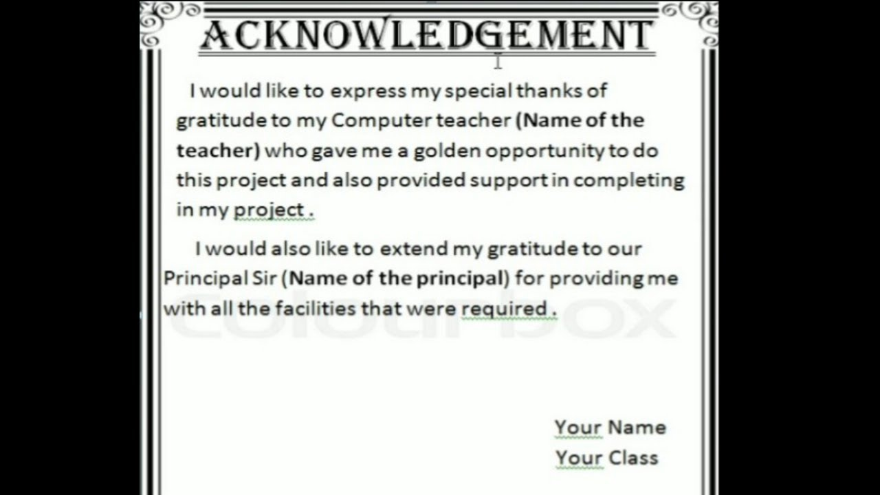 How to Make Acknowledgement for Project on MS Word .