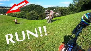 Dirt Bikers Scared of Angry Man! NO TRESPASS