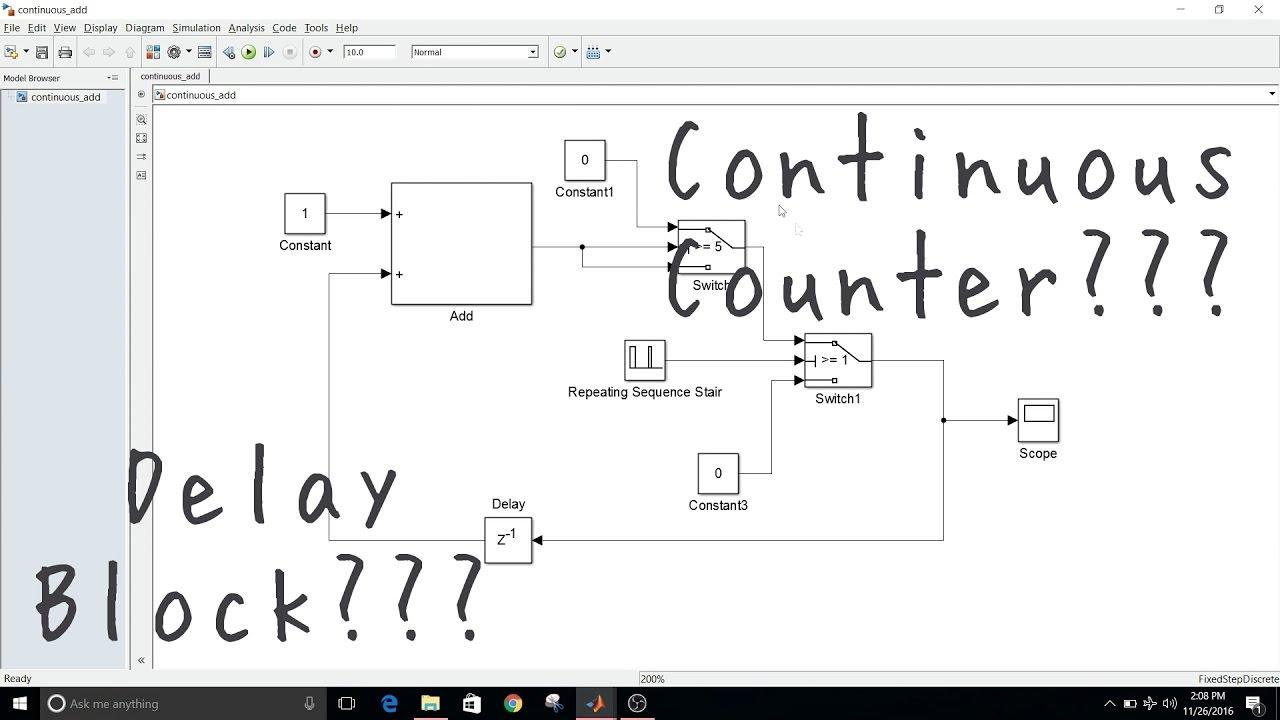 Simulink Tutorial - 13 - Continuous Counter & Delay Block Model Settings