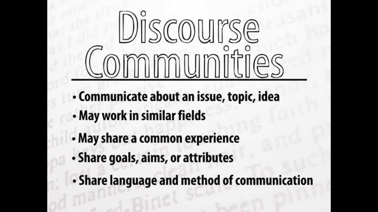 Discourse Community Paper YouTube