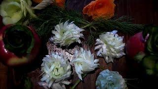 Cooking | Dekoracja dekorowanie dekoracja z zielonej pory kwiatek filmy kulinarne przepisy na obiad
