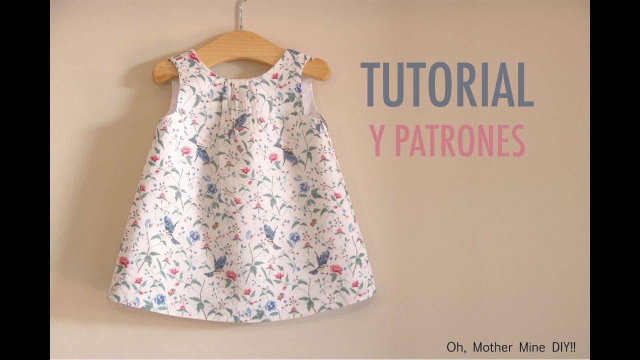 b2723adb6 Aprender a coser  vestido sencillo para niñas (patrones gratis hasta la  talla 7 años)