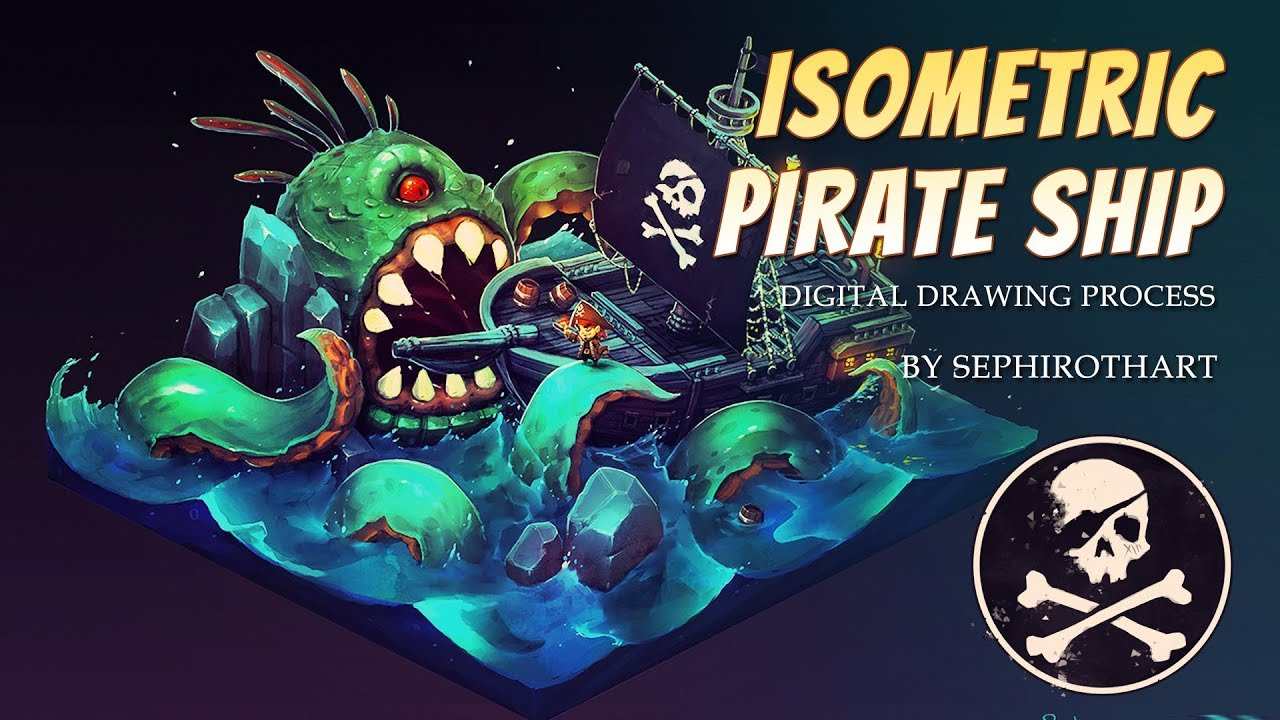 ISOMETRIC PIRATE SHIP ● Gumroad TUTORIAL [ Sephiroth Art ]