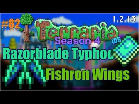 Let's Play Terraria (1.2.13) iOS- Razorblade Typhoon & Fishron Wings! Episode 82