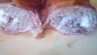 Cheese Stuffed Bacon meatloaf roll