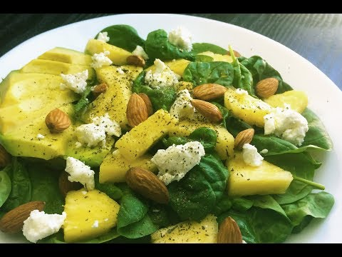 Baby Spinach, Avocado, Pineapple, Almond & Goat Cheese Salad
