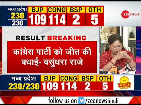 Rajasthan Assembly Elections: Vasundhara Raje accepts BJPs defeat, resigns as CM
