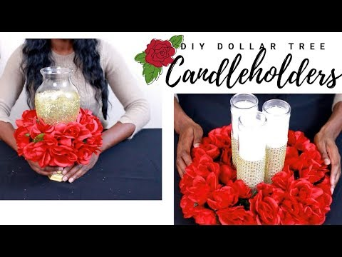 How to make a Candleholder Centerpiece DIY Dollar Tree for Wedding | Chanelle Novosey 💖💖