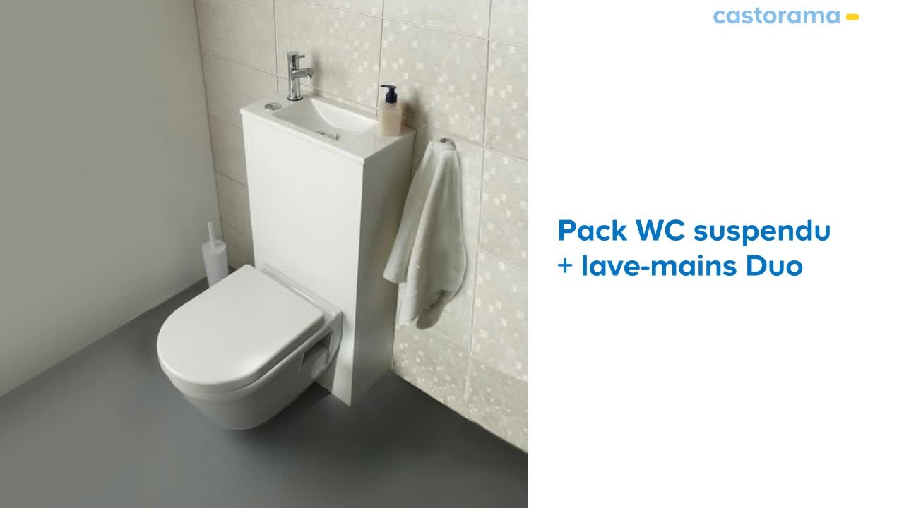 Wc suspendu lave mains duo 653334 castorama youtube for Abattant wc clipsable castorama
