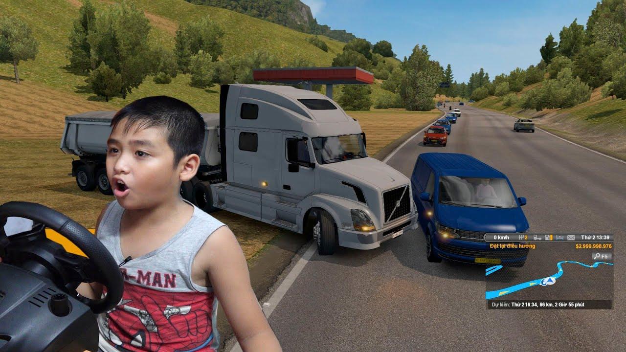 Bé Dương lái xe tải  ETS2 đi đường đèo núi giao hàng