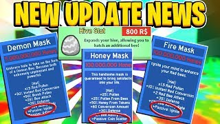 UPDATE NEWS Buyable Hiveslots + Honey Mask and Fire Mask Passives In Roblox Bee Swarm Simulator