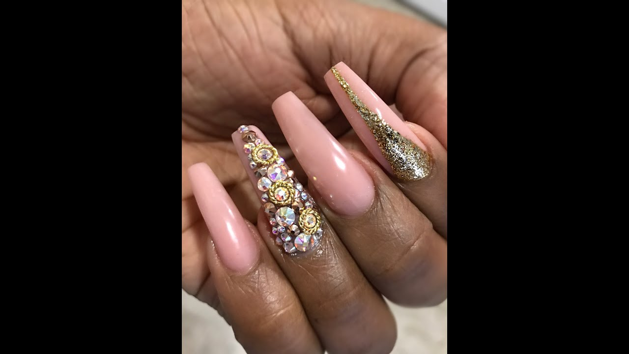 Nude gold nail art youtube nude gold nail art prinsesfo Image collections