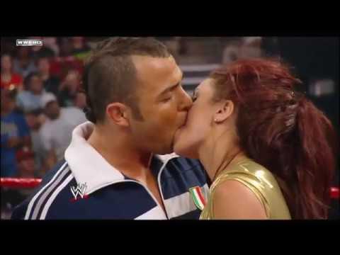 Santino Marella and Maria kiss  RAW February 11, 2008
