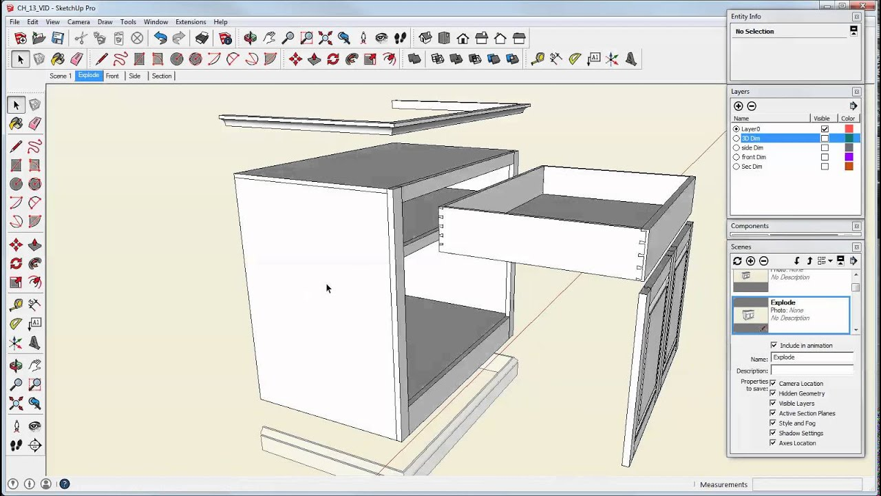 Make An Exploded View In Sketchup Youtube