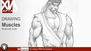 How to draw a muscular man