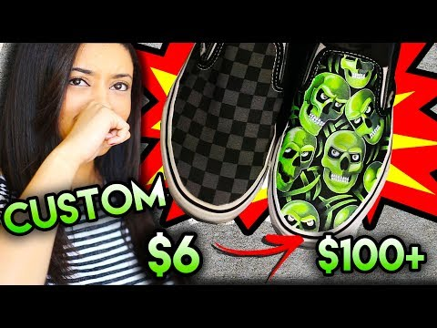 BALLIN ON A BUDGET   VANS SUPREME SKULL PILE CUSTOM FROM $6 SHOES! + THRIFT TRIP