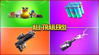*ALL* Season 9 Fortnite Trailers! (Prop Hunt, Chug Splash, Proximity Grenade Launcher) in HD!