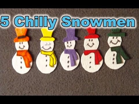 Winter Preschool Songs - 5 Chilly Snowmen song - Littlestorybug