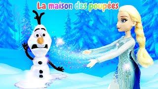 Olaf fond. Vidéo avec Anna et Elsa. La Reine des Neiges.