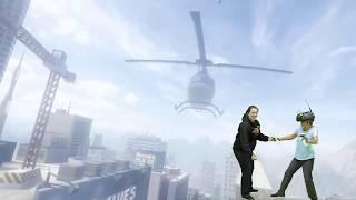 Terrified Grandma walks the plank in VR
