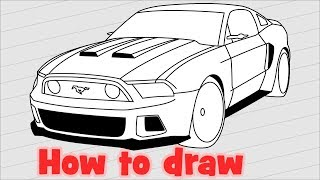 How to draw a car Ford Mustang GT 2014 from the Need For Speed