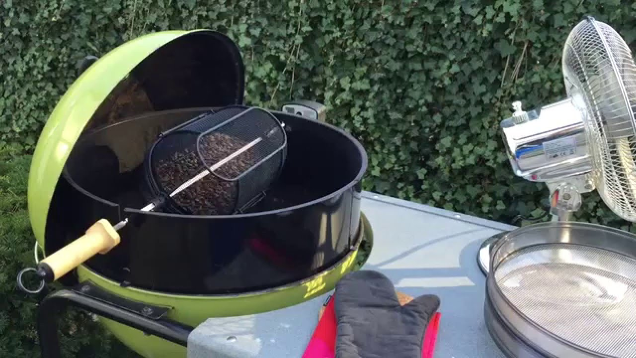 Can A Coffee Maker Left On Start A Fire : coffee roasting on a charcoal grill using the Weber fine mesh rotisserie basket - YouTube