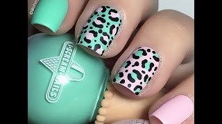 Pastel Leopard - Mint and Pink