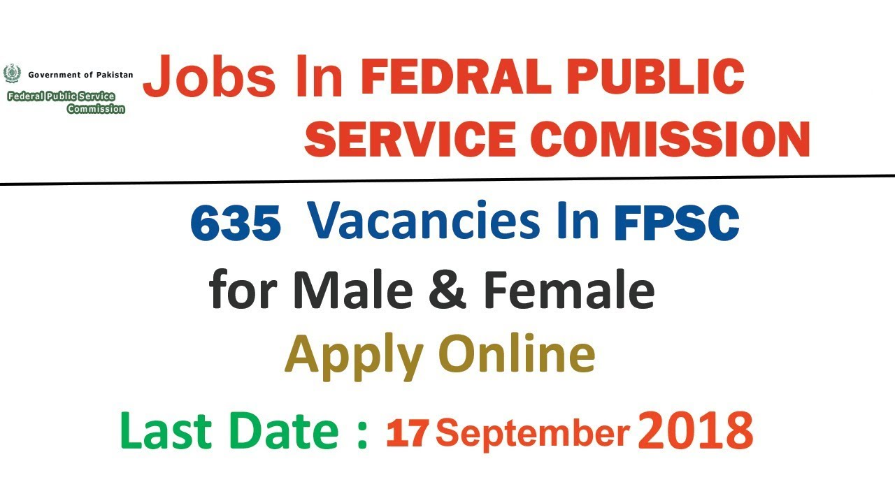 Jobs In Federal Public Service Commission FPSC for Male & Female | Apply  Online | 635 Vacancies |