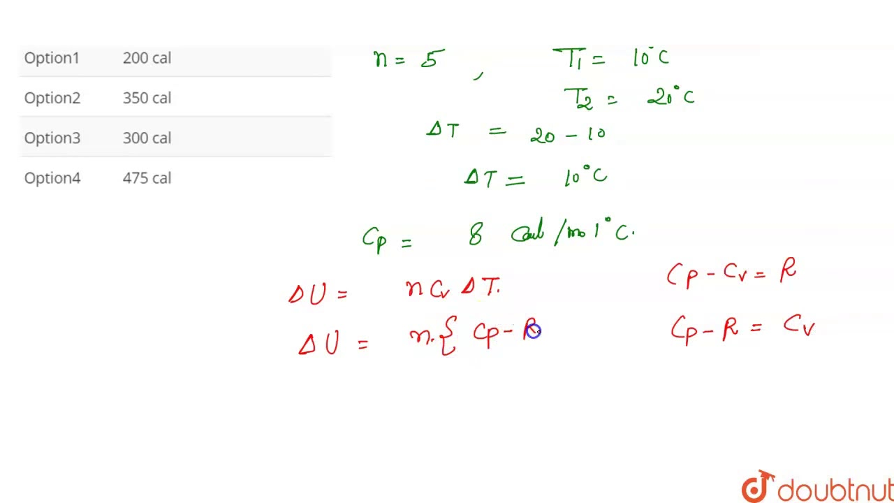 The change in internal energy when 5 mole of hydrogen is