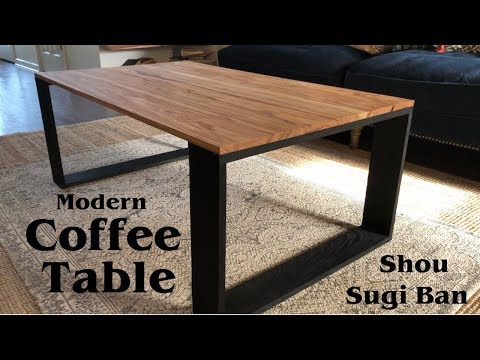 Modern Coffee Table with Shou Sugi Ban Legs // How to Build - Woodworking