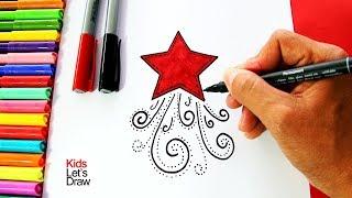 Cómo dibujar una Estrella de Navidad (Decorar Tarjetas Navideñas) | How to draw a Christmas Star