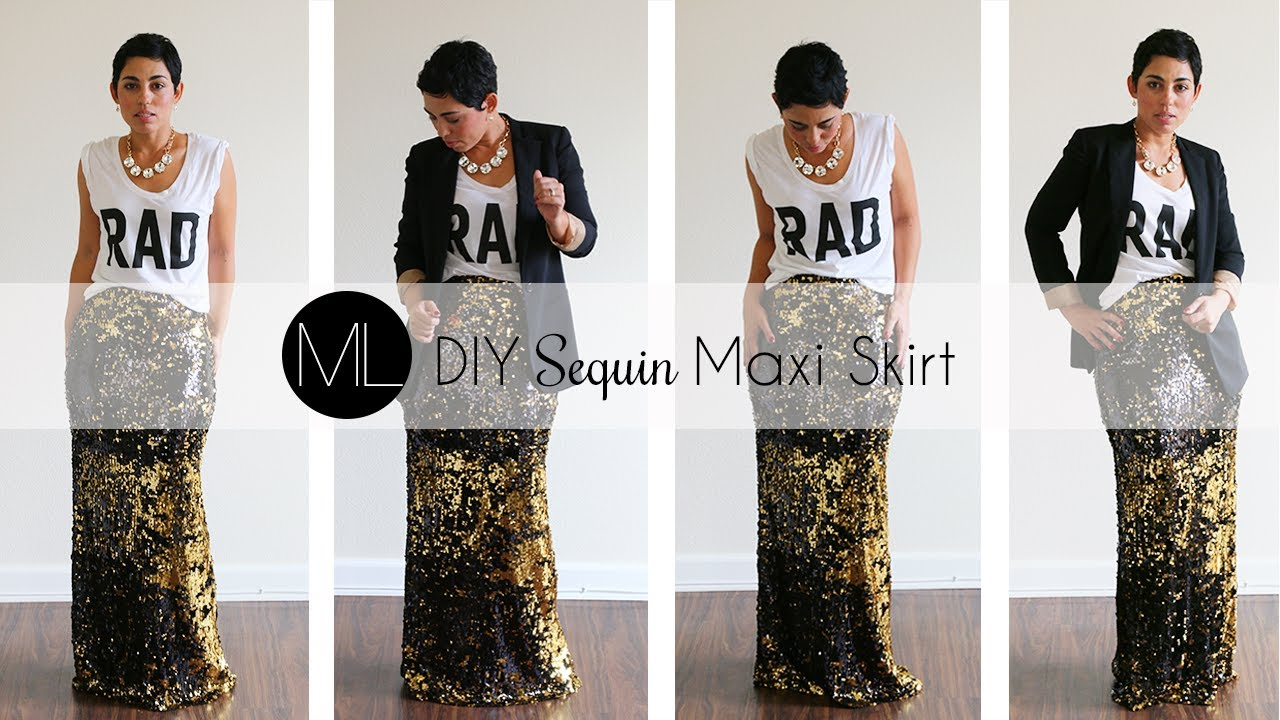 DIY Sequin Maxi Skirt Tutorial! w/ Mimi G - YouTube