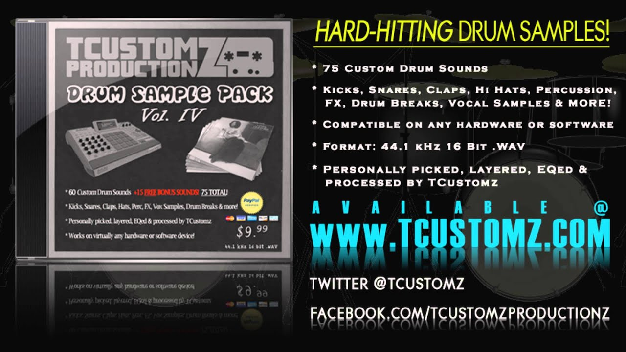TCustomz Drum Sample Pack Vol. 4 - Hard-hitting Hip Hop Drum ...