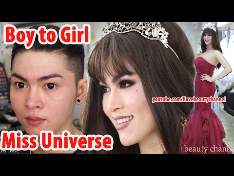 Miss Universe 2016 Inspired Makeup Transformation Boy To  Girl [ full video no edit ]