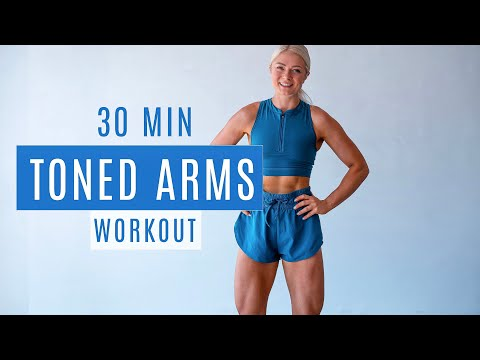 30 MIN STRONG TONED ARMS | with weights (dumbbells or water bottles) | growingannanas