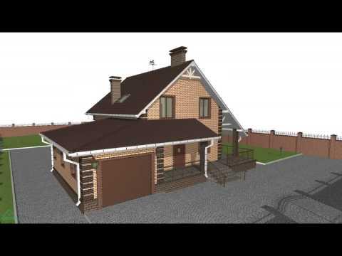 Типовой проект дома с мансардой и гаражом  B-072-ТП