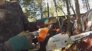 How to adjust the idle on a stihl chainsaw!