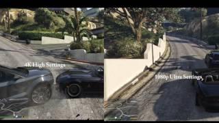 GTA V - 1080p maximum graphics vs 4K high graphics