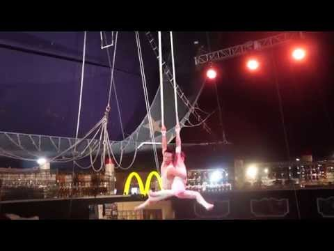 Circus Circus Hotel Midway Circus Act Aerial Acrobat Duo Las Vegas 2014