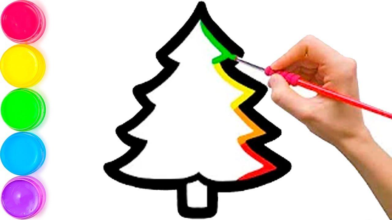 Pelajari Menggambar Dan Mewarnai Pohon Natal Pelangi Dan Ornamen Untuk Anak Anak