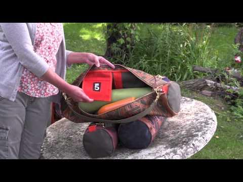 Yoga mat bag, canvas denim travel bag, original artwork designer bag, Duluth gift