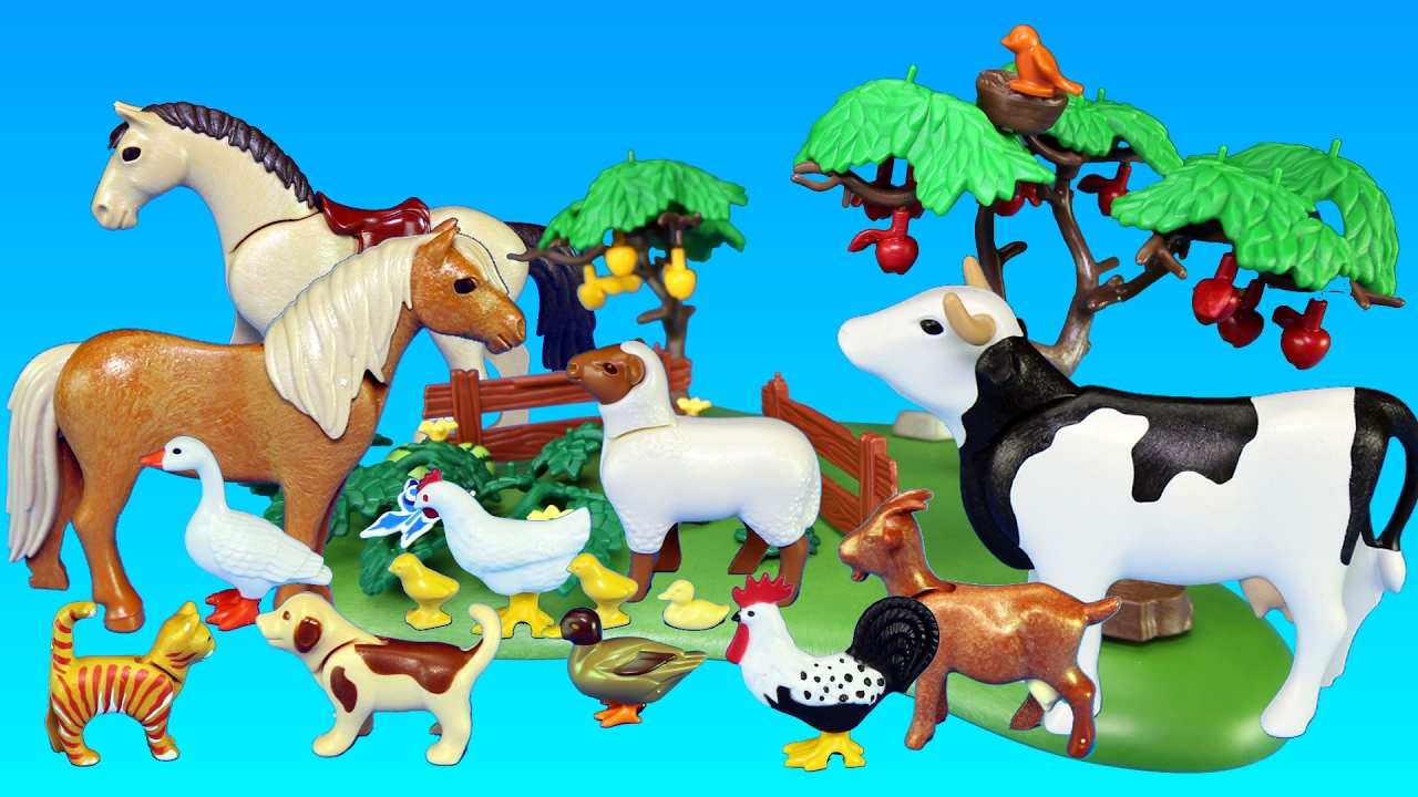 Playmobil Orchard Harvest And Small Pond With Farm Animals
