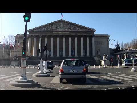 Driving in my car in Paris Porte Maillot , Elysée , Tour Eiffel