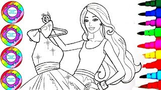 Dibujar y colorear Disney's Barbie Holding a Party Girl Rainbow Dress Coloring Pages